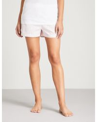 The White Company - Gingham-patterned Cotton Pyjama Shorts - Lyst