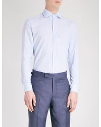 Corneliani - Micro Dogtooth-patterned Tailored-fit Cotton Shirt - Lyst