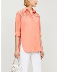 0aee289fdb141c Maje - Floral Lace-panelled Cotton Blouse - Lyst