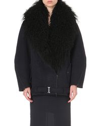Dion Lee - Shearling Collar Wool Coat - Lyst