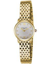 Frederique Constant - Fc200whds5b Slimline Mini Yellow Gold-plated Stainless Steel And Diamond Watch - Lyst