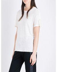 The Kooples Sport - Crewneck Linen T-shirt - Lyst