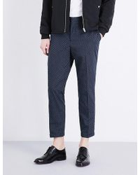 The Kooples - Micro-patterned Slim-fit Cotton Trousers - Lyst
