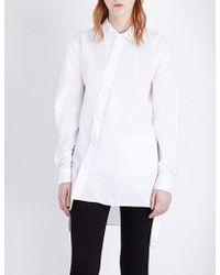 Izzue - Asymmetric-detail Cotton Shirt - Lyst