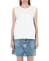 Izzue - Constrast Band Cotton Top - Lyst