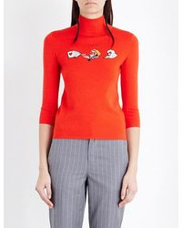 Mo&co. - Card-embroidered Wool Turtleneck Jumper - Lyst