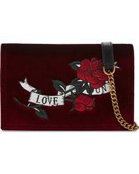 Mo&co. - Embroidered Velvet And Leather Shoulder Bag - Lyst