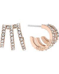 Michael Kors - Modern Brilliance Rose Gold-toned Pavé Earrings - Lyst