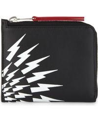Neil Barrett - White Thunder Leather Half-zip Wallet - Lyst