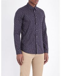 Paul Smith - Men's Tailored-fit Navy 'cactus Seed' Print Cotton Shirt - Lyst