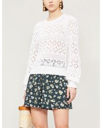 See By Chloé - Puffed-sleeve Cotton-knit Jumper - Lyst