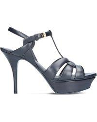 Saint Laurent - Tribute 75 Leather Heeled Sandals - Lyst