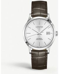 Longines - L2.820.4.72.2 Record Stainless Steel And Leather Watch - Lyst