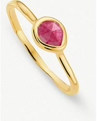 Monica Vinader - Siren 18ct Gold Vermeil And Pink Quartz Small Stacking Ring - Lyst