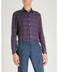 Etro - Checked Slim-fit Long-sleeve Woven Shirt - Lyst