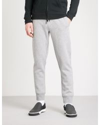 Emporio Armani - Embroidered Logo Cotton-blend Jogging Bottoms - Lyst