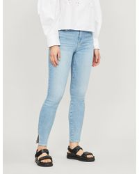 FRAME - Le High Skinny Cropped High-rise Faded Jeans - Lyst