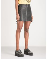 McQ - Laced Leather Mini Skirt - Lyst