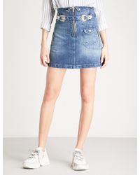 The Kooples - Belted Denim Skirt - Lyst