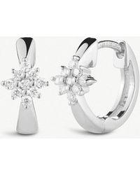The Alkemistry - Dana Rebecca Starburst 14ct White-gold And Diamond Hoop Earrings - Lyst