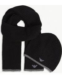 Emporio Armani - Eagle Logo Rib-knit Hat And Scarf Set - Lyst