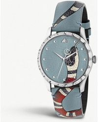 a7ac6a262eb Gucci - Ya1264080 G-timeless Leather And Stainless Steel Watch - Lyst