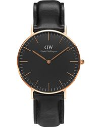 Daniel Wellington - Classic Black Sheffield Leather And Stainless Steel Watch - Lyst