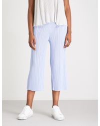 Pleats Please Issey Miyake - Month Wide-leg Cropped Pleated Trousers - Lyst