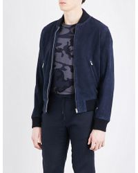Sandro - Stand Collar Suede Bomber Jacket - Lyst