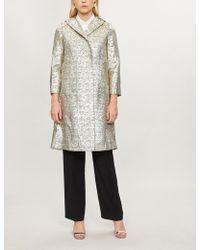Huishan Zhang - Maurice Textured Metallic-lamé Coat - Lyst
