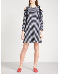 Claudie Pierlot - Cold-shoulder Striped Stretch-cotton Dress - Lyst