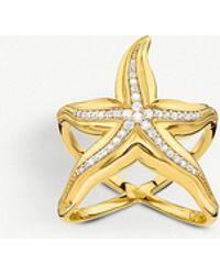 Thomas Sabo - Starfish 18ct Yellow-gold And Zirconia Ring - Lyst