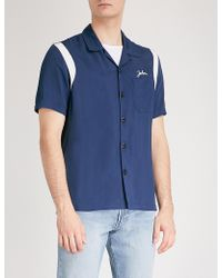 Sandro - Embroidered Satin Bowling Shirt - Lyst