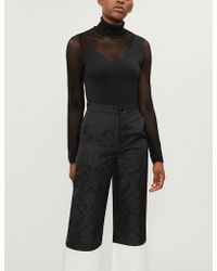 Mo&co. - Mesh-panel Stretch-knit Top - Lyst