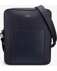 Smythson - Navy Blue Panama Leather Reporter Bag - Lyst