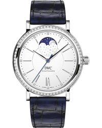 Iwc - Iw459008 Portofino Portofino Alligator-leather And Diamond Watch - Lyst