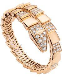 BVLGARI - Serpenti 18kt Pink-gold And Pavé-diamond Bracelet - Lyst