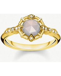 Thomas Sabo - Vintage Collection Diamond-embellishment 18-ct Yellow Gold-plated Sterling Silver Ring - Lyst