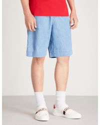 Gucci - Side-stripe Denim Shorts - Lyst