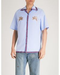 Gucci - Flying Tiger-embroidered Regular-fit Cotton Shirt - Lyst