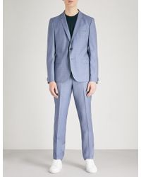 HUGO | Sharkskin-pattern Tailored-fit Wool Suit | Lyst