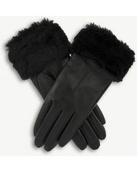 Dents - Faux-fur Cuff Leather Gloves - Lyst