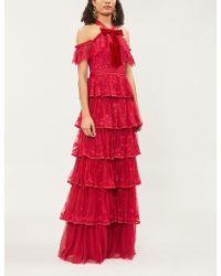 Needle & Thread - Zelda Floral-embroidered Tulle Gown - Lyst