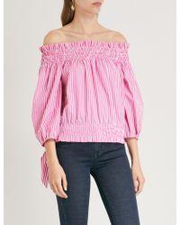 Caroline Constas - Ladies Fuschia Pink Lou Striped Cotton Top - Lyst