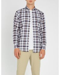 Drake's - Checked Slim-fit Cotton Shirt - Lyst