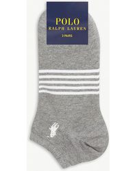 Polo Ralph Lauren - Striped Cotton Trainer Socks Pack Of Three - Lyst