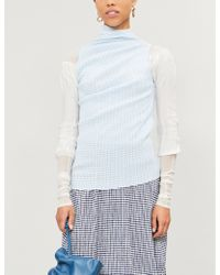 Jil Sander - Ladies Open Blue Checked Woven Top - Lyst