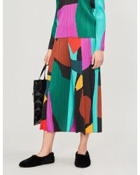 Pleats Please Issey Miyake - Clumpy Colour Wide-leg Cropped Pleated Trousers - Lyst