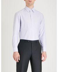 Emporio Armani - Striped Modern-fit Cotton Shirt - Lyst
