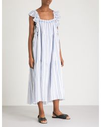 Apiece Apart - Ossetia Striped Cotton-gauze Midi Dress - Lyst